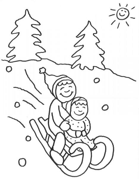 Malvorlage_Kinder_beim_schlittenfahren